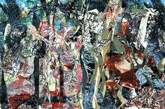 """Jean-Paul Riopelle (1923 –  2002) was een Canadese schilder en beeldhouwer. Zijn stijl ontwikkelde zich naar het abstract expressionisme en action painting. Hij werd internationaal gezien als een van de vertegenwoordigers daarvan. """"Passage""""collage, 1967, 130x196, Galerie Maeght, Parijs"""