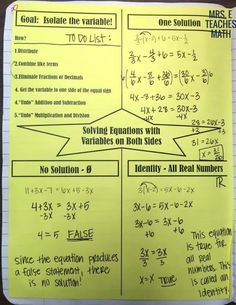 equations with variables on both sides graphic organizer for interactive notebooks - algebra 1 Solving Linear Equations, Algebra Equations, Maths Algebra, Math Math, Math Fractions, Math Teacher, Teacher Stuff, Algebra Activities, Teaching Math