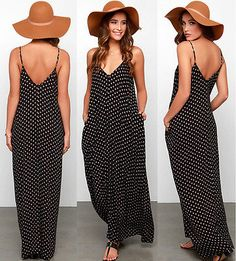 Cheap dress up girls dresses, Buy Quality dress up casual dress directly from China dress character Suppliers: Women On Sale Fashion Black Summer Boho Dress Beach Wear Sleeveless Chiffon Dress Dot Ladies Long Maxi Party Beach Dress Polka Dot Maxi Dresses, Halter Maxi Dresses, Chiffon Maxi Dress, Dot Dress, White Sundress, Boho Summer Dresses, Beach Wear Dresses, Casual Dresses, Dress Beach