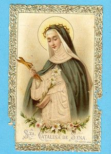 ST. Catherine of Siena Antique Lace Holy Card
