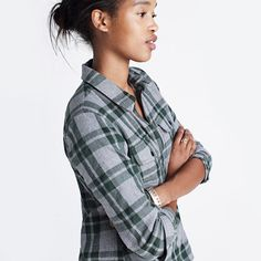 Madewell - Flannel Zip-Front Popover shirt in washburn plaid - $59.50 - heather grey