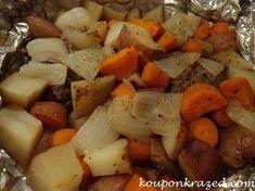 Boy Scout Supper: 1½ ground beef (preferably ground chuck), 4-6 medium potatoes, 1 bunch carrots approx. 1 cup, 2-3 medium onions, garlic powder, onion powder, salt & pepper to taste, aluminum foil for packets