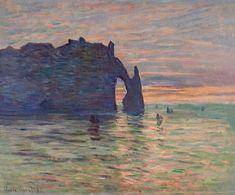"claudemonet-art: "" Etretat, Sunset 1883 Claude Monet """