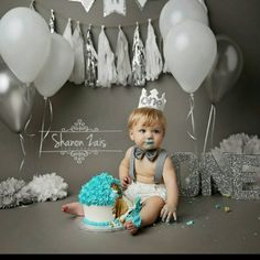 White and Metallic Silver First Birthday Felt Crown, Felt Crown, Birthday Boy Crown, cake smash, 1st birthday, photo prop, baby birthday