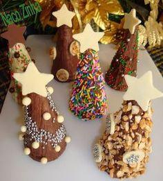 Dando continuidade às receitas natalinas, sugestivas para presente, lá vem mais alguma coisa doce. Quem é chegado aos salgados, aguente mais um pouquinho que a fase passa… Cones de Natal …