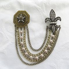 Fleur De Lis Chatelaine Rhinestone with Hanging Pearls and