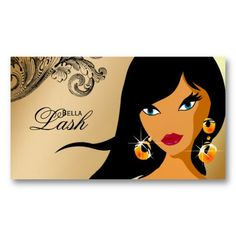 Eyelash Business Card Gold Ethnic Woman Tan 2