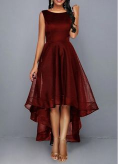 christmas dress WomenS Deep Red Sleeveless High Low Cocktail Party Dress Solid Color High Waisted Maxi Elegant Dress By Rosewe High Waist Round Neck Sleeveless Dress Club Party Dresses, Party Dresses For Women, Cute Dresses, Casual Dresses, Maxi Dresses, Awesome Dresses, Sleeveless Dresses, Trendy Dresses, Christmas Dress Women