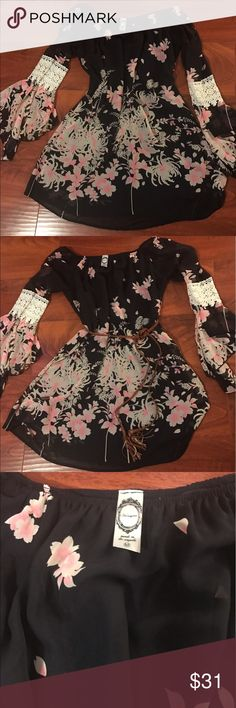 Custom Boutique Off Shoulder Dress Bell sleeves, lace and off shoulder cut make this floral breezy, chiffon dress the perfect look for spring or summer! Purchased at a boutique in Savannah, nearly one of a kind. Worn once with no signs of wear. Dress is fully lined and comes from a smoke free home! Dresses