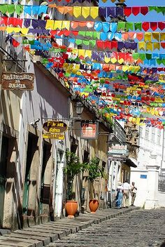 Pelourinho , Salvador, Bahia - The streets of Bahia are awash with colour in the lead up to carnival