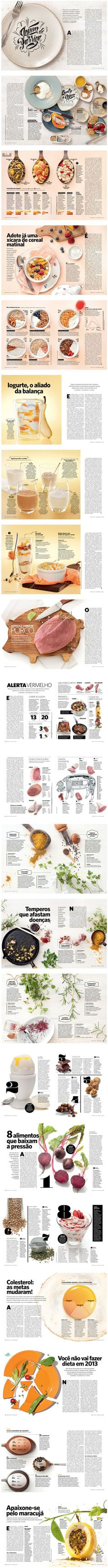Saude Magazine is a Healthy Magazine from Brazil and has an amazing mix of food photography, grid layout, and typography for you to enjoy. Take a look and pick some ideas that you can use on your next editorial adventure. Editorial Design Layouts, Graphic Design Layouts, Poster Design, Menu Design, Book Design, Design Design, Print Design, Graphic Design Magazine, Magazine Layout Design