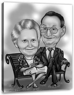 Karikatur vom Foto - Erstellung Karikatur Antique (ca322), inkl. 2 Personen