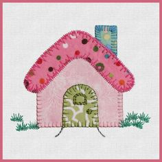 Small Houses by Reiko Kato Applique Templates, Applique Patterns, Applique Quilts, Applique Designs, Quilt Patterns, House Quilt Block, House Quilts, Fabric Houses, Quilt Blocks
