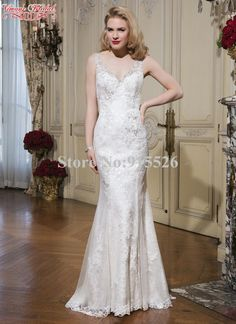 3670c473a2a Mermaid Robe De Mariee White Appliques Lace V Neck Sleeveless Floor Length  Wedding Dresses Made In China Free Shipping AZ59-in Wedding Dresses from  Weddings ...