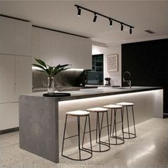 Wohnen Polished concrete floor Trees matter to the look of your home. Kitchen Room Design, Modern Kitchen Design, Home Decor Kitchen, Modern House Design, Interior Design Kitchen, Home Kitchens, Polished Concrete Kitchen, Concrete Kitchen Floor, Concrete Floors