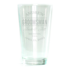 Pub Glass - 16oz - Double Bar Script Personalized