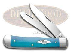 CASE XX Painted Desert Caribbean Blue Bone Trapper 1/500 Stainless Pocket Knife Knives