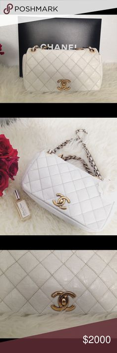 """Authentic white Calf Skin CHANEL purse Chanel Pondechery Antique Gold Chain Crinkle Calf Skin Quilt bag. """" RARE. Limited edition. Excellent preloved. Like new condition. Retail $3200 plus tax. Receipt & authenticity card included. Same bag on eBay for over $4k CHANEL Bags Shoulder Bags"""