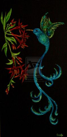 Colibri painting by OrnellaArts.deviantart.com on @DeviantArt
