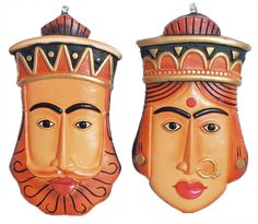 Masks of King and Queen - Wall Hanging (Terracotta)