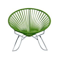 Sit back and melt into this  hoop-shaped, sunburst-woven modern lounge chair, complete with UV-resistant vinyl cord for breathability and support, and a rust-resistant, galvanized-steel frame with a se...  Find the Dream Catcher Rocker in Green, as seen in the La Vie Bohème Collection at http://dotandbo.com/collections/la-vie-boheme?utm_source=pinterest&utm_medium=organic&db_sku=INN0004-grn