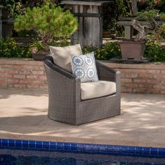 The perfect chair for lounging outdoors, this piece combines the classic looks of wicker furniture with the utmost in comfort and functionality. The plush cushions and swivel base offer something that other outdoor furniture doesn't. Use it by the pool, on a patio, porch, or anywhere you need a place to relax outdoors.