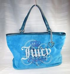 JUICY-COUTURE-VELOUR-AQUA-BLUE-LARGE-TOTE-BAG-PERFECT-CONDITION-FREE-SHIPPING