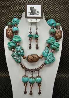TURQUOISE / COPPER Chunky Southwest Style by CayaCowgirlCreations, $57.50