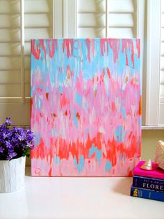 FLAMINGO+ABSTRACT+on+stretched+canvas+11x14+by+annechovie+on+Etsy,+$73.00