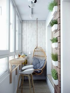#smallflat #balcony with Egg shaped #swing Балкон в скандинавском стиле. @novate.ru via @sunjayjk