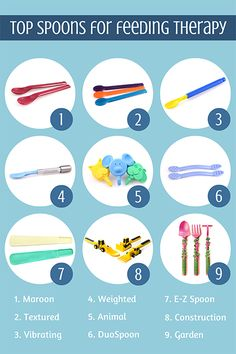 Favorite Spoons for Feeding Therapy. Love that these are all made in the USA and designed by therapists. http://www.arktherapeutic.com/post/1462 Repinned by Apraxia Kids Learning. Come join us on Facebook at Apraxia Kids Learning Activities and Support- Parent Led Group.