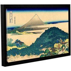 ArtWall Katsushika Hokusai The Coast of Seven Leagues in Kamajura Gallery-Wrapped Floater-Framed Canvas, Size: 16 x 24, Blue