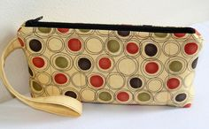 Quilted Wristlet  Zippered Wristlet  Cosmetic by RedNeedleQuilts, $15.00