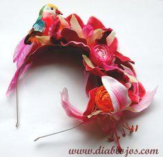 Tropical Hawaiian Pink Orchids with Parrot Floral Headband www.diablojos.com