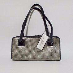 """Whiting & Davis denim and silver tone metal mesh purse. Measures 4 1/2"""" x 10"""" and is 3"""" deep. Strap drop of 9"""". New with tag. 