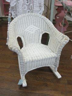 Precious Chippy White Wicker Childs Childrens Rocking Chair. $94
