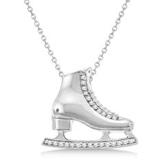 Allurez Ice Skate Necklace Pendant Diamond Accented 14k White Gold... (€1.070) ❤ liked on Polyvore featuring jewelry, necklaces, 14k white gold pendant, clear crystal necklace, 14k chain necklace, clear pendant necklace and clear crystal pendant necklace