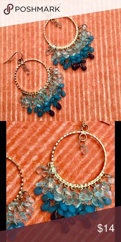 """🌅Stunning boutique earrings A gradation of faceted blue stones glimmer and dangle from sparkling gold hoops. One delicate stone hangs in the center of each ring. 2 1/2"""" long. Jewelry Earrings"""