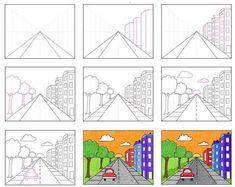 Draw a City with One Point Perspective · Art Projects for Kids Perspective Drawing Lessons, One Point Perspective, Perspective Art, Art Drawings For Kids, Art Drawings Sketches Simple, Drawing For Kids, Art Lessons For Kids, Art Lessons Elementary, Art For Kids