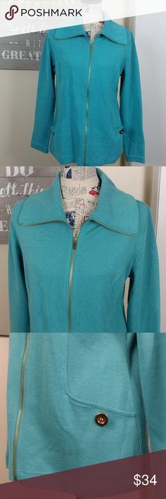 NWT Zip front sweater/jacket Full zip front sweater jacket. Button pockets with extra available. Pleated bust. Karen Scott Sweaters Cardigans