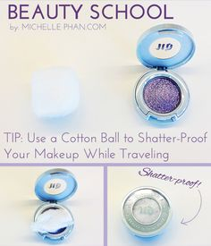 Use a cottonball to shatter-proof your makeup while traveling #beautytip #traveltip