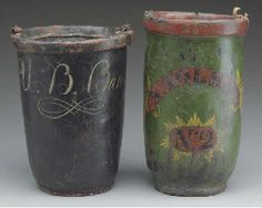 TWO PAINTED-LEATHER FIRE BUCKETS,  19TH CENTURY  the taller: 13in. (33cm.) high (2)