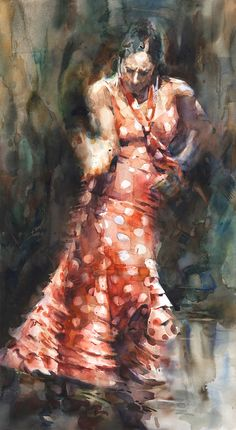 "Gypsy. Authentic Flamenco dance in Southern Spain. Watercolor by Stephen Zhang. Transparent watercolor on paper. 23.5 x 43""."