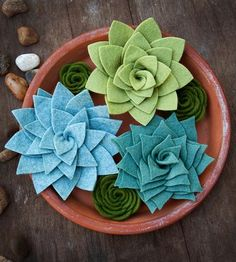 Morning Dew Felt Succulents, Set of 6 by Sugar Snap Boutique on Scoutmob Shoppe