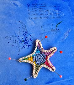 crocheted star. but what I love most is the photo as a whole, with blue wash background & instructions written in ink.