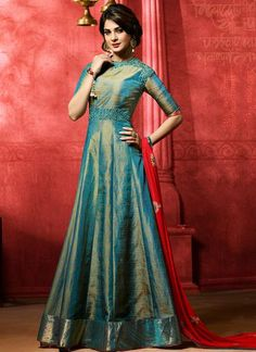 Stand out from rest with this Jennifer Winget teal banarasi silk floor length anarkali suit. It is uniquely crafted with zari and embroidered work. Comes with matching bottom and dupatta. Designer Salwar Kameez, Designer Anarkali Dresses, Designer Dresses, Indian Salwar Kameez, Salwar Designs, Silk Kurti Designs, Kurti Designs Party Wear, Latest Anarkali Designs, Silk Anarkali Suits