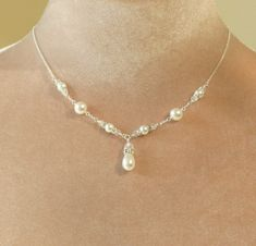 Pearl wedding necklace pearl necklace by HoneyWillowWedding, $74.00