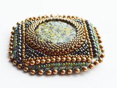 Green bronze brooch seed bead brooch Handmade by MadarasJewelry