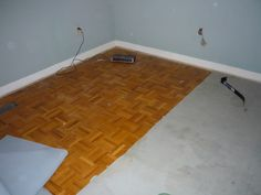 primed and painted parquet; rona's sico floor and porch paint in latex, espresso colour