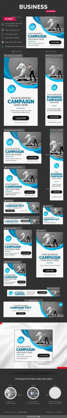 Business Web Banners Template PSD #design #ad Download…